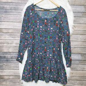 L Betsey Johnson Blue Printed Ruffle Hem Dress